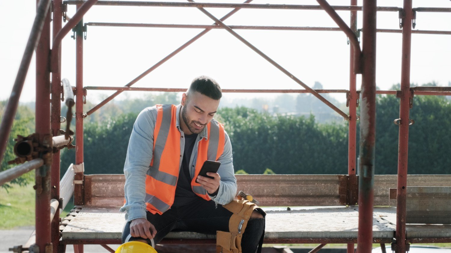 Contractor using Phone